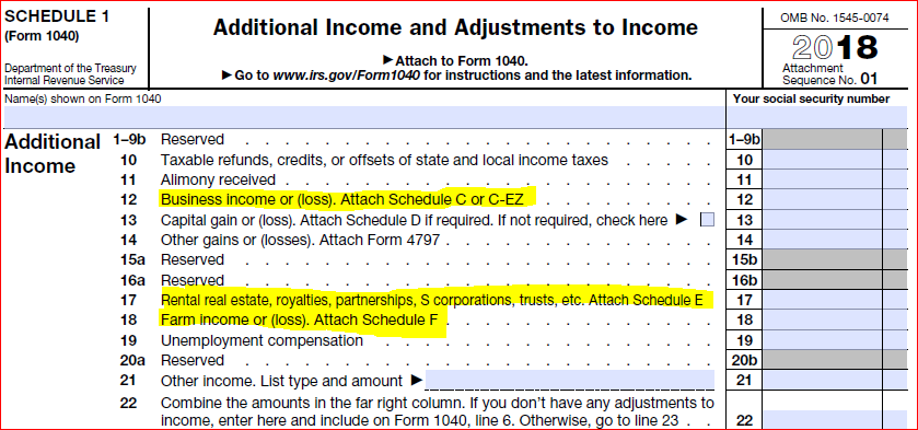 image of schedule 1 form 1040 - Additional Income and Adjustments to Income form