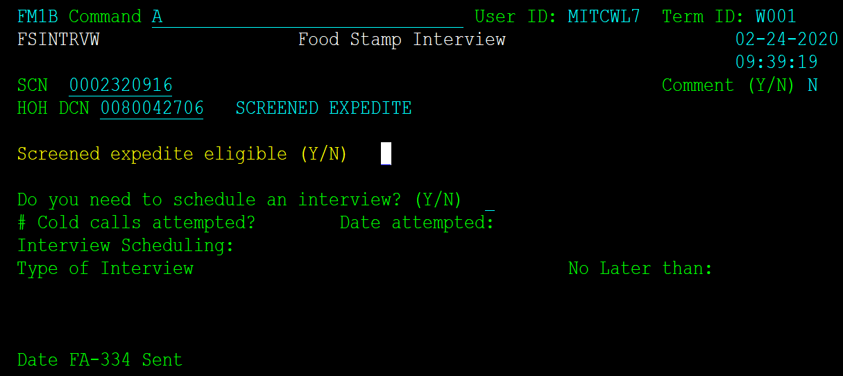 Screen capture of Food Stamp Interniew